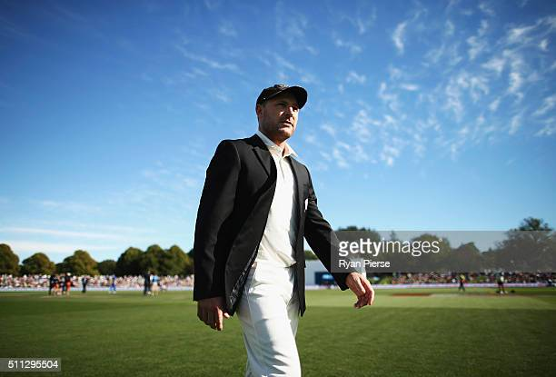 Brendon McCullum of New Zealand walks off the field after his last toss of the coin during day one of the Test match between New Zealand and...