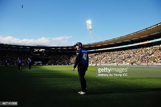 Brendon McCullum of New Zealand walks out to field during the 2015 ICC Cricket World Cup match between New Zealand and the West Indies at Wellington...