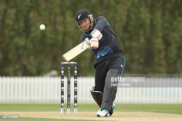 Brendon McCullum of New Zealand XI bats during the tour match between the New Zealand XI and Scotland at Bert Sutcliffe Oval on October 15 2014 in...