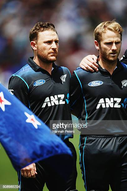 Brendon McCullum of the Black Caps and Kane Williamson of the Black Caps sing the national anthem during the 3rd One Day International cricket match...