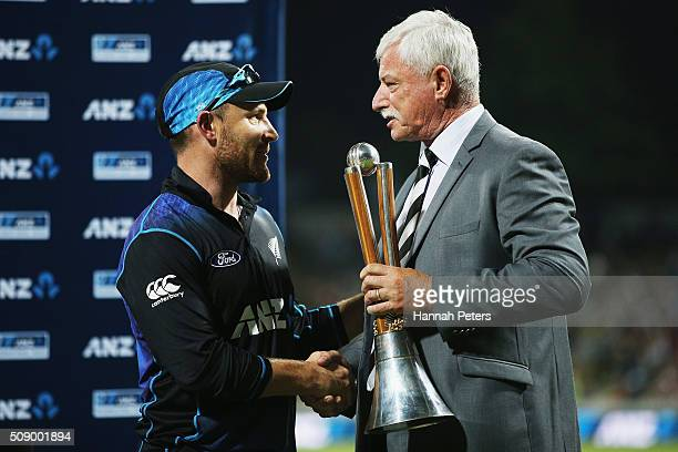 Brendon McCullum of the Black Caps is congratulated by Sir Richard Hadlee after winning the 3rd One Day International cricket match between the New...