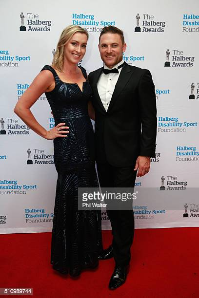 Brendon MCCullum of the Black Caps poses with his wife Ellissa McCullum before the 2016 Halberg Awards at Vector Arena on February 18 2016 in...