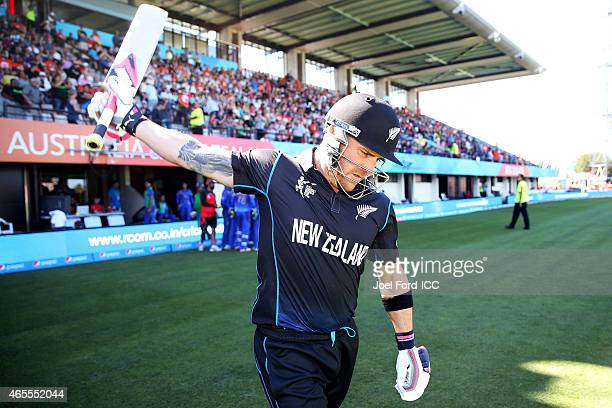 Brendon McCullum of the Black Caps walks out to bat the 2015 ICC Cricket World Cup match between New Zealand and Afghanistan at McLean Park on March...