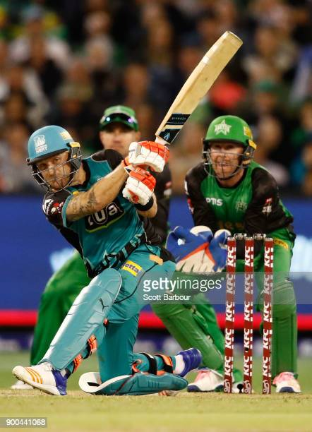 Brendon McCullum of the Heat bats during the Big Bash League match between the Melbourne Stars and the Brisbane Heat at Melbourne Cricket Ground on...