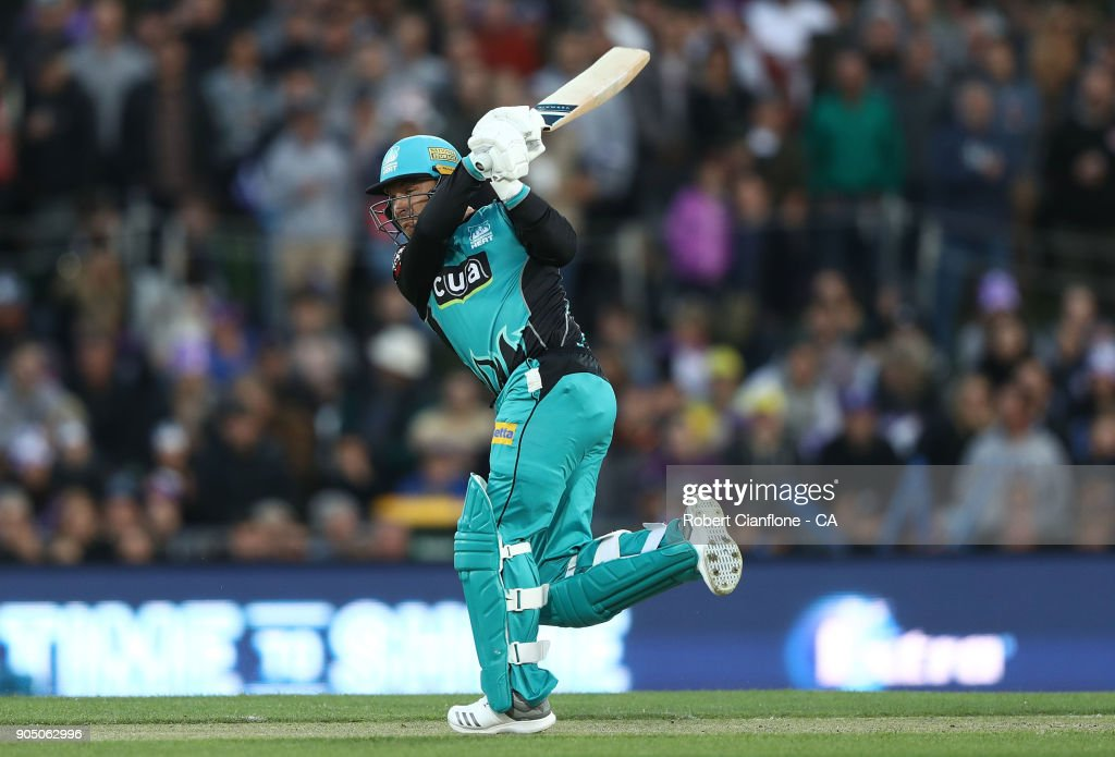 Brendon McCullum of the Heat bats during the Big Bash League match between the Hobart Hurricanes and the Brisbane Heat at Blundstone Arena on January 15, 2018 in Hobart, Australia.