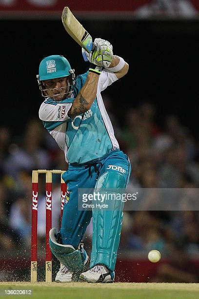 Brendon McCullum of the Heat bats during the T20 Big Bash League match between the Brisbane Heat and the Melbourne Stars at The Gabba on December 20...
