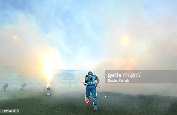 Brendon McCullum of the Heat enters the field of play during the Big Bash League semi final match between the Brisbane Heat and the Sydney Sixers at...