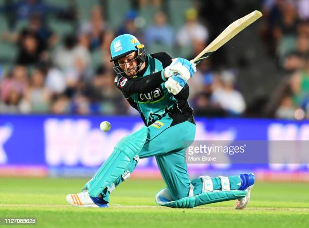 Brendon McCullum of the Heat hit on the pads lbw to Rashid Khan of the Adelaide Strikers during the Big Bash League match between the Adelaide...