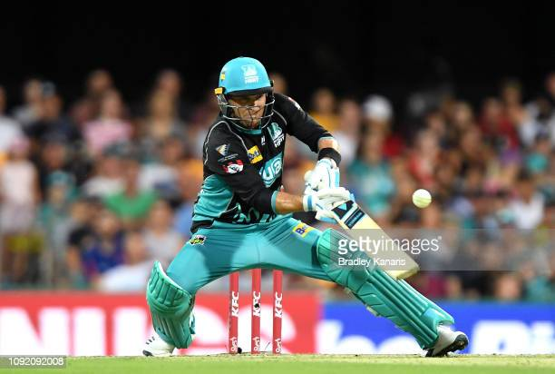 Brendon McCullum of the Heat hits the ball over the boundary for a six during the Big Bash League match between the Brisbane Heat and the Melbourne...