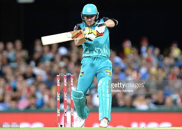 Brendon McCullum of the Heat hits the ball over the boundary for a six during the Big Bash League semi final match between the Brisbane Heat and the...