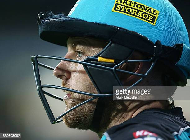 Brendon McCullum of the Heat looks on during the Big Bash League match between the Sydney Thunder and Brisbane Heat at Spotless Stadium on December...