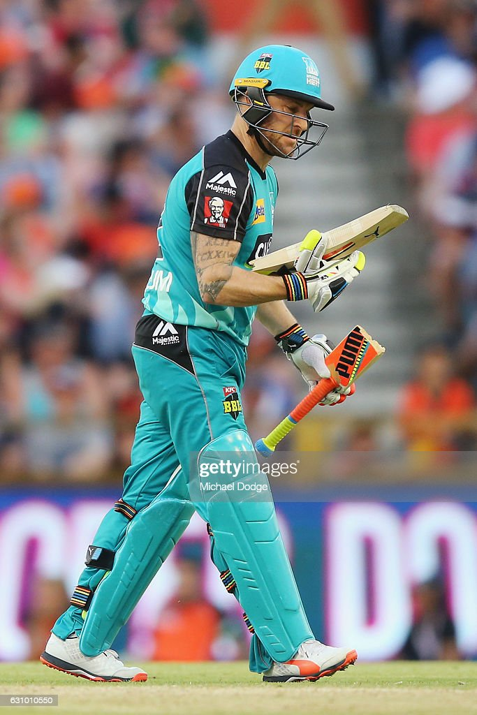 Brendon McCullum of the Heat reacts after breaking his bat from playing a stoke off the bowling of Andrew Tye of the Scorchers during the Big Bash League match between the Perth Scorchers and the Brisbane Heat at WACA on January 5, 2017 in Perth, Australia.