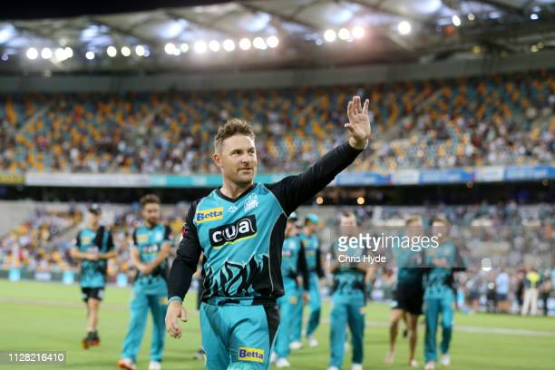 Brendon McCullum of the Heat walks off after playing his last home match during the Brisbane Heat v Melbourne Stars Big Bash League Match at The...