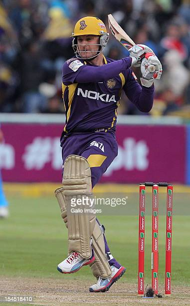 Brendon McCullum of the Kolkata Knight Riders in action during the Champions league twenty20 match between CLT20 Kolkata Knight Riders v Nashua...