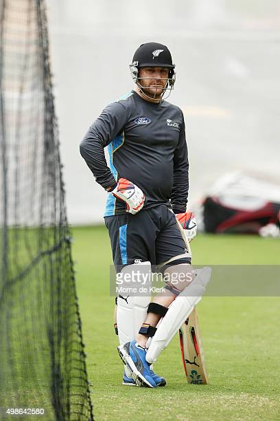 Brendon McCullum waits for his turn to bat in the nets during a New Zealand training session at Adelaide Oval on November 25 2015 in Adelaide...