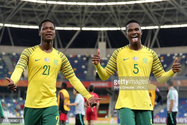Brendon Moloisane and Sbusiso Mabiliso of South Africa celebrates following their draw in the 2019 FIFA U20 World Cup group F match between South...