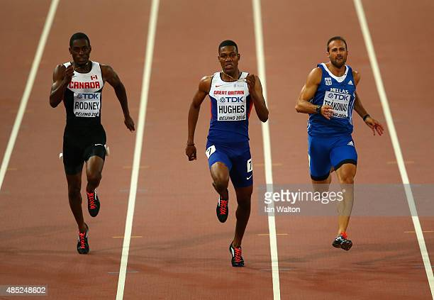 Brendon Rodney of Canada Zharnel Hughes of Great Britain and LikourgosStefanos Tsakonas of Greece compete in the Men's 200 metres semifinal during...