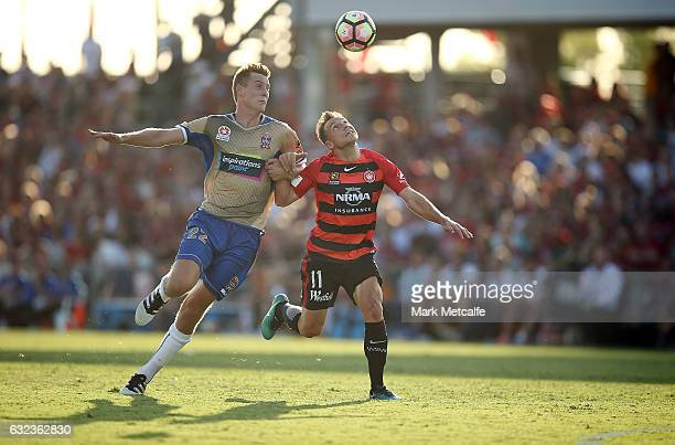 Brendon Santalab of the Wanderers and Kristian Brymora of the Jets compete for the ball during the round 16 ALeague match between the Western Sydney...