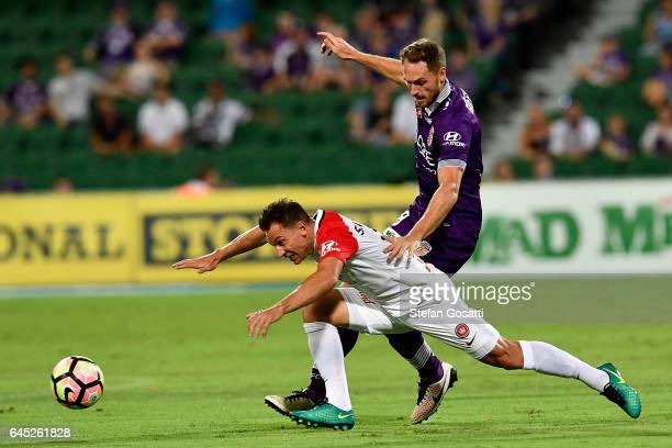 Brendon Santalab of the Wanderers and Rostyn Griffiths of the Glory compete for the ball during the round 21 ALeague match between the Perth Glory...