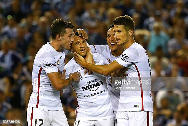 Brendon Santalab of the Wanderers celebrates after scoring their first goal during the round 18 ALeague match between the Melbourne Victory and...