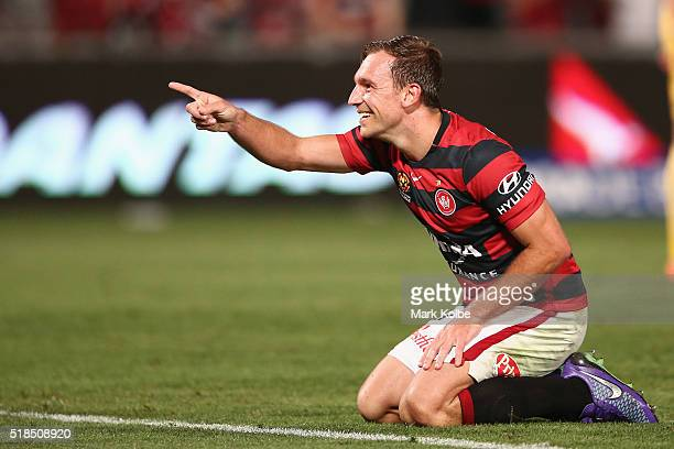 Brendon Santalab of the Wanderers celebrates scoring a goal during the round 26 ALeague match between the Western Sydney Wanderers and the Central...