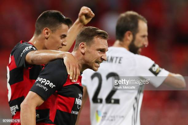 Brendon Santalab of the Wanderers celebrates scoring a goal during the round 22 ALeague match between the Western Sydney Wanderers and the Wellington...