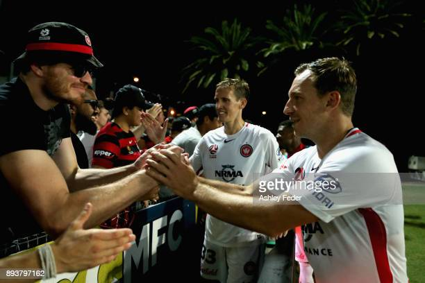 Brendon Santalab of the Wanderers celebrates the win with fans during the round 11 ALeague match between the Central Coast and the Western Sydney...