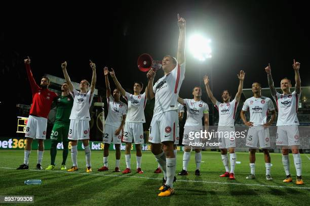Brendon Santalab of the Wanderers celebrates the win with his team and fans during the round 11 ALeague match between the Central Coast and the...