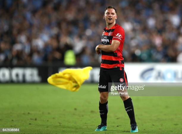 Brendon Santalab of the Wanderers celebrates victory during the round 20 ALeague match between the Western Sydney Wanderers and Sydney FC at ANZ...