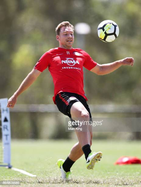 Brendon Santalab of the Wanderers controls the ball during a Western Sydney Wanderers ALeague training session at Blacktown International Sportspark...