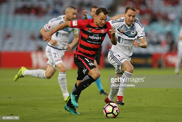 Brendon Santalab of the Wanderers controls the ball during the round 10 ALeague match between the Western Sydney Wanderers and the Melbourne Victory...
