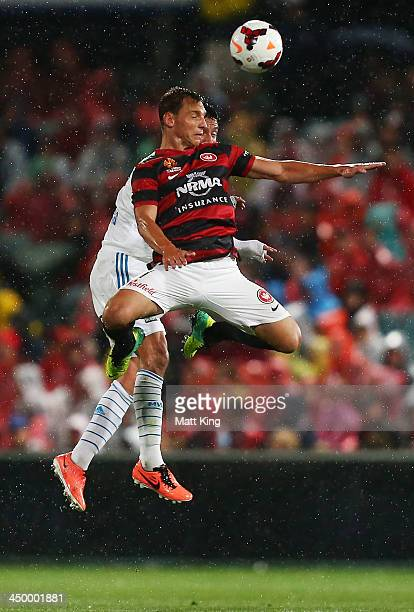 Brendon Santalab of the Wanderers jumps to head the ball during the round six ALeague match between the Western Sydney Wanderers and the Melbourne...