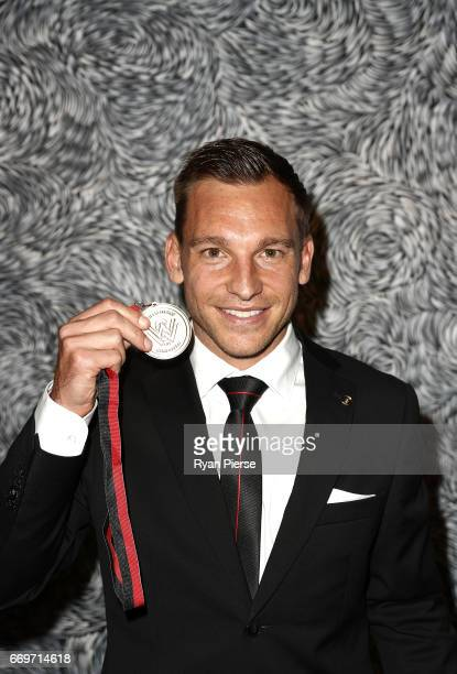 Brendon Santalab of the Wanderers poses with his Wanderers ALeague Player of the Year Medal at the Western Sydney Wanderers Medal Night at the...