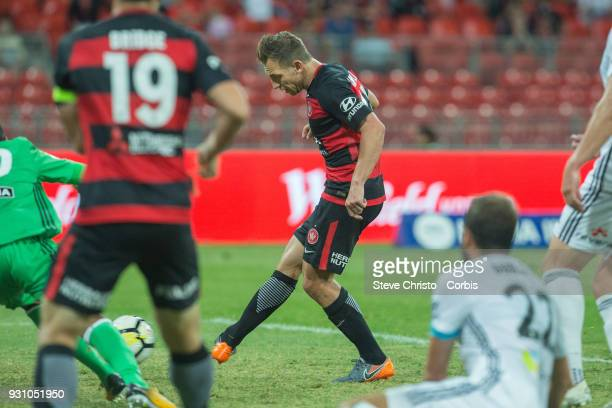 Brendon Santalab of the Wanderers scores a goal during the round 22 ALeague match between the Western Sydney Wanderers and the Wellington Phoenix at...