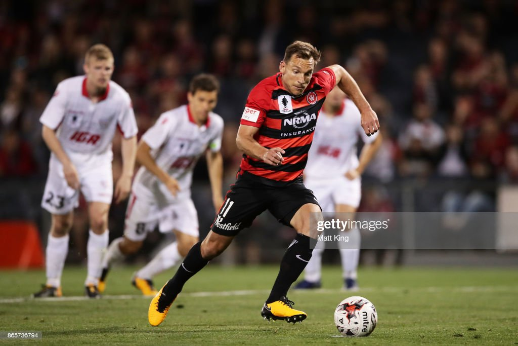 Brendon Santalab of the Wanderers scores from a penalty kick during the FFA Cup Semi Final match between the Western Sydney Wanderers and Adelaide United at Campbelltown Sports Stadium on October 24, 2017 in Sydney, Australia.