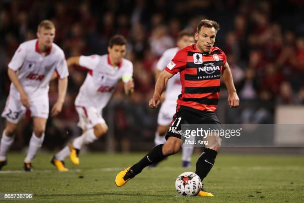 Brendon Santalab of the Wanderers scores from a penalty kick during the FFA Cup Semi Final match between the Western Sydney Wanderers and Adelaide...