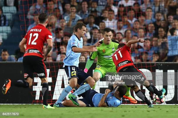 Brendon Santalab of the Wanderers scores his teams first goal during the round 20 ALeague match between the Western Sydney Wanderers and Sydney FC at...