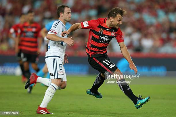 Brendon Santalab of the Wanderers takes a shot at goal during the round 10 ALeague match between the Western Sydney Wanderers and the Melbourne...