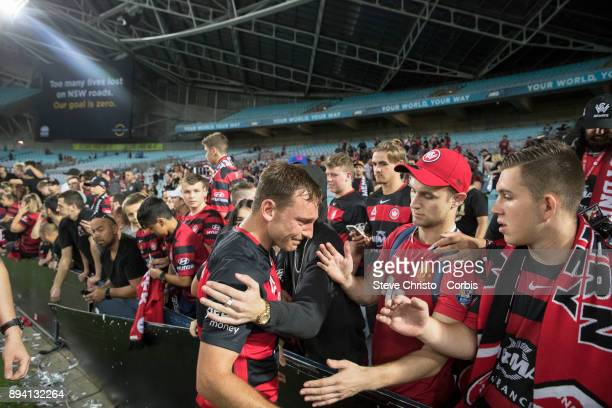 Brendon Santalab of the Wanderers walks dejected thanking fans in the RBB after Sydney FC beat his Team 50 in the Sydney Derby during the round ten...