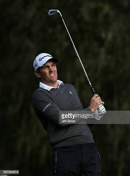 Brendon Todd hits a shot during the first round of the ATT Pebble Beach National ProAm at the Monterey Peninsula Country Club on February 7 2013 in...