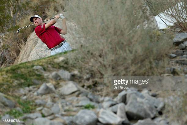Brendon Todd hits a shot on the 15th hole during the final round of the Humana Challenge in partnership with the Clinton Foundation on the Arnold...