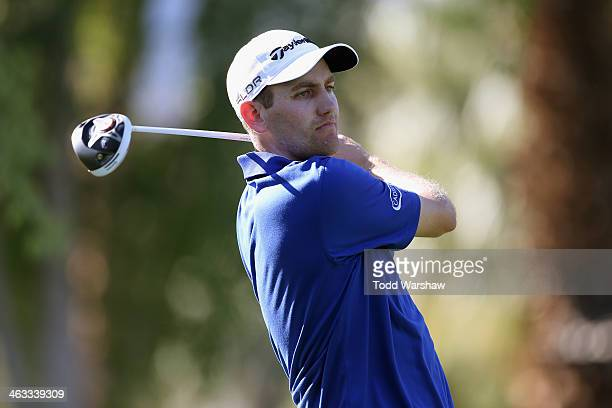 Brendon Todd hits a tee shot at the second hole on the Arnold Palmer Private Course at PGA West during the second round of the Humana Challenge in...