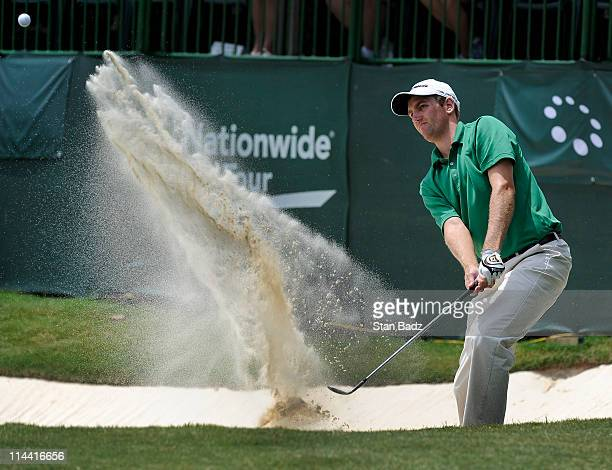 Brendon Todd hits from a bunker onto the 18th green during the first round of the BMW Charity ProAm presented by SYNNEX Corporation at the Thornblade...