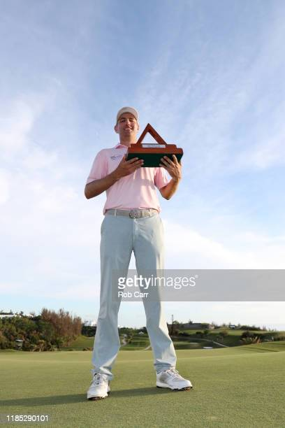 Brendon Todd of the United States celebrates with the trophy after winning the Bermuda Championship at Port Royal Golf Course on November 03 2019 in...