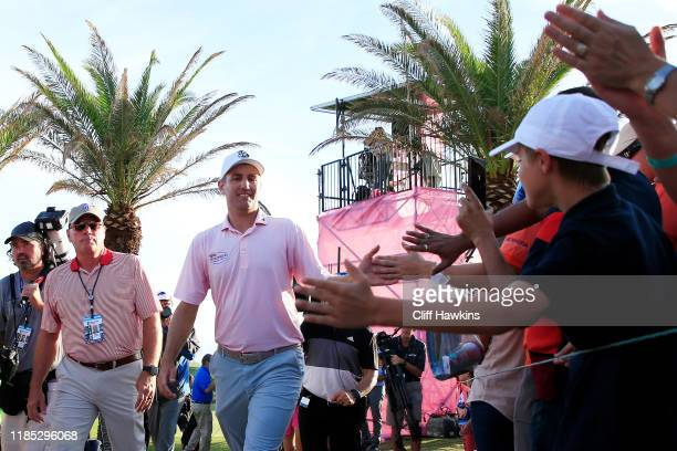 Brendon Todd of the United States greets fans after winning during the final round of the Bermuda Championship at Port Royal Golf Course on November...