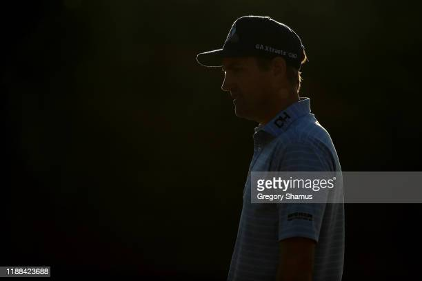 Brendon Todd of the United States looks on from the 16th green during the continuation of the final round of the Mayakoba Golf Classic at El Camaleon...