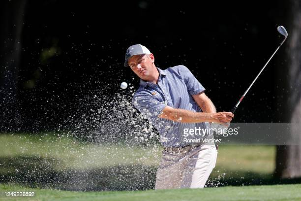 Brendon Todd of the United States plays a shot from a bunker on the eighth hole during the second round of the Charles Schwab Challenge on June 12...