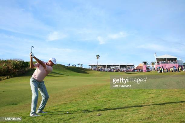 Brendon Todd of the United States plays his second shot on the 18th hole during the final round of the Bermuda Championship at Port Royal Golf Course...