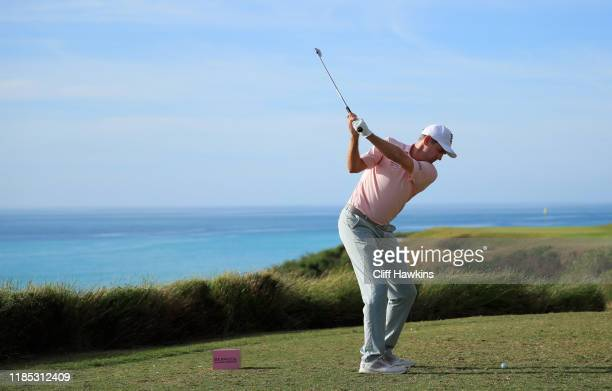 Brendon Todd of the United States plays his shot from the 16th tee during the final round of the Bermuda Championship at Port Royal Golf Course on...