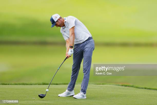 Brendon Todd of the United States plays his shot from the fourth tee during the first round of the TOUR Championship at East Lake Golf Club on...